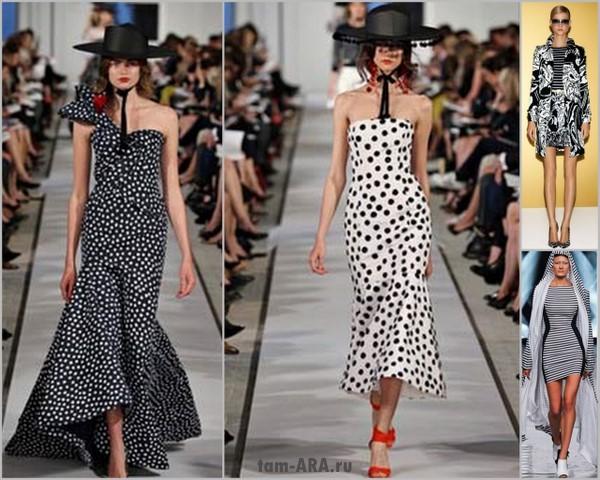 Оригинальные платья, сочетание черного и белого, лето 2012