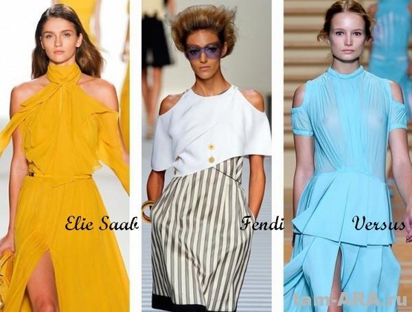 Мода на голые плечи, тенденции лета 2012, Elie Saab, Fendi, Versus