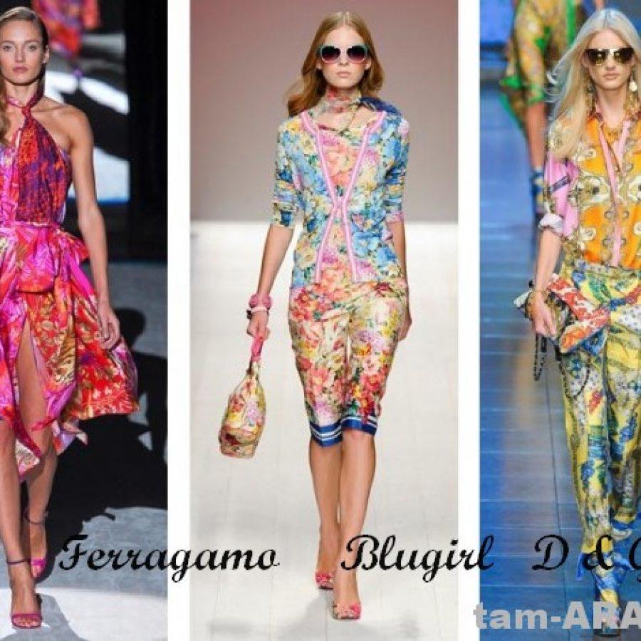 тенденции лета 2012, принты Ferragamo, Blugirl, D & G