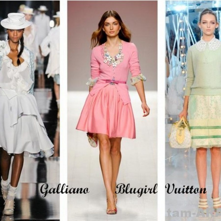 нежная пастель, Galliano, Blugirl, Vuitton, тенденции лета 2012