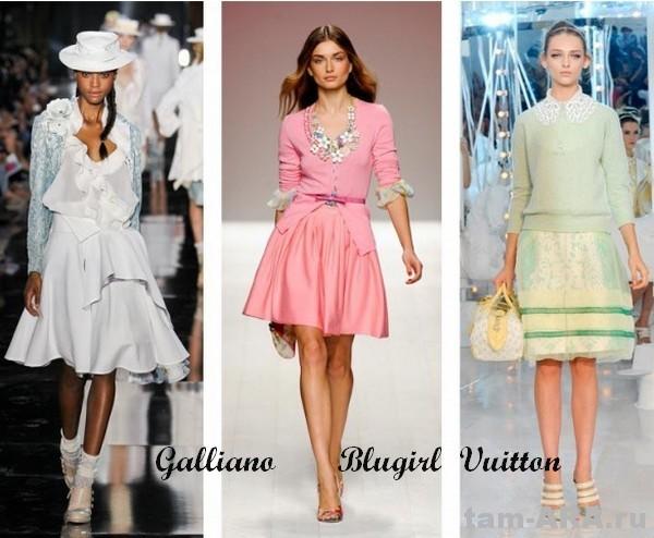 нежная пастель,  Galliano, Blugirl, Vuitton, тенденции лета 2012