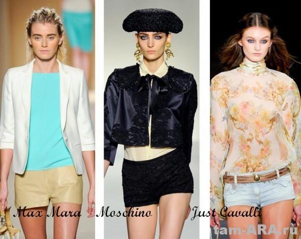 короткие шорты, тренд сезона 2012, Max Mara, Moschino, Just Cavalli