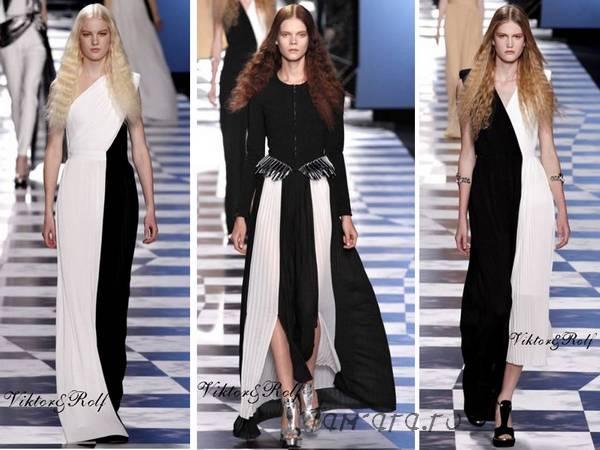 монохромность, модные сочетания черного и белого