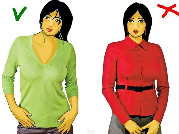 коррекция фигуры одеждой, большой бюст