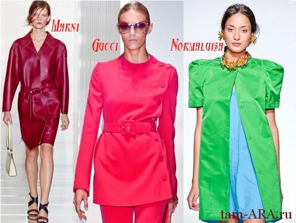 весенние пальто 2013, яркие цвета