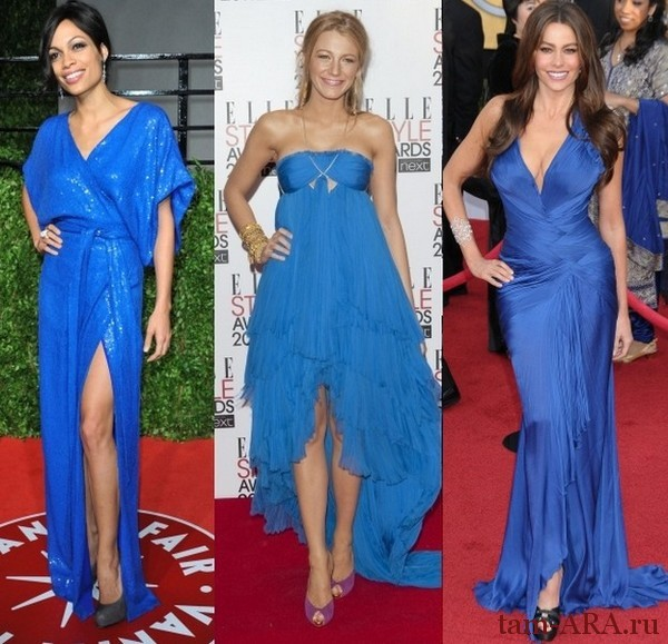 Платье синего цвета: выбираем аксессуары