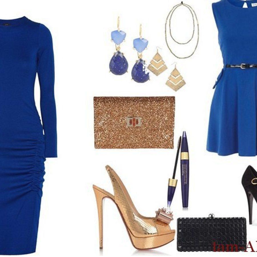 стильные аксессуары к синему платью