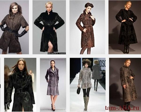 Пальто из каракульчи стильные образы