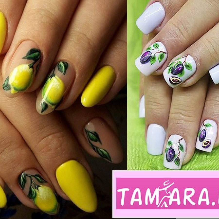 красочные летние ногти дизайн идеи с фруктами