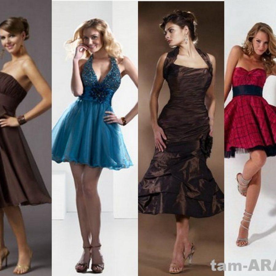 выпускные мини-платья, модные платья средней длины